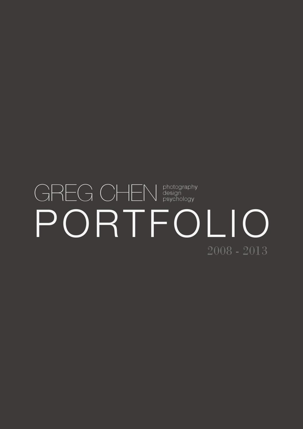 Cover Page for Portfolio Template Inspirational Greg Chen Design Portfolio 2013 by Greg Chen issuu