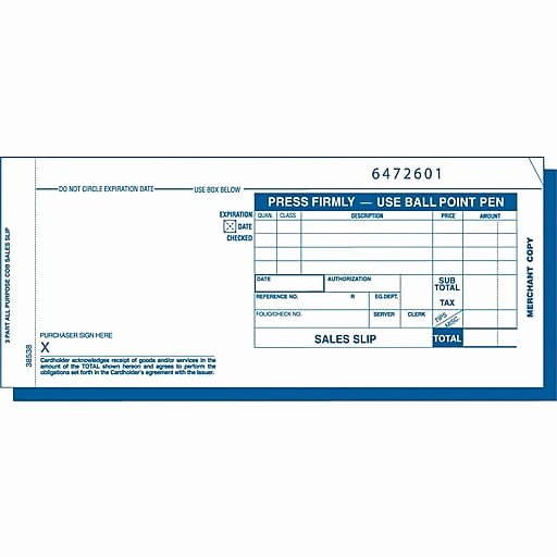 Credit Card Receipt Template Lovely tops Credit Card Sales Receipt Ruled 3 Part White 7 7