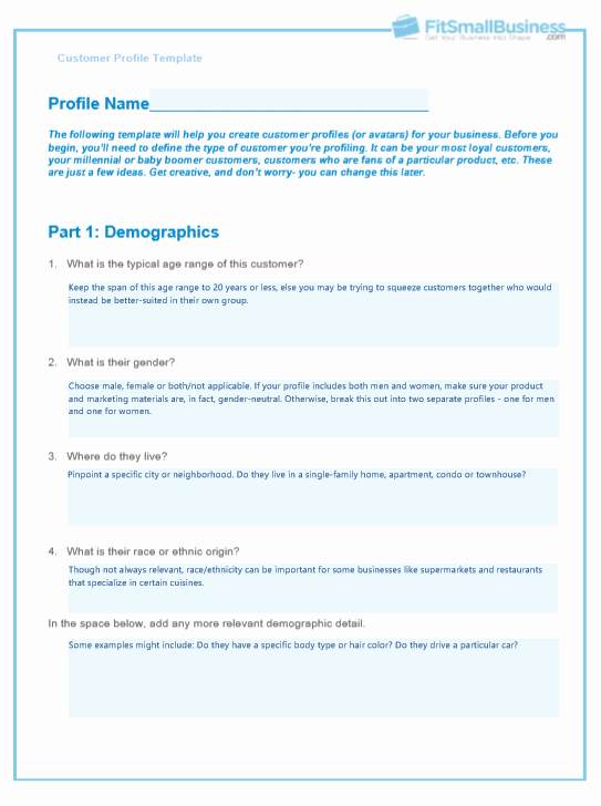 customer profile template examples