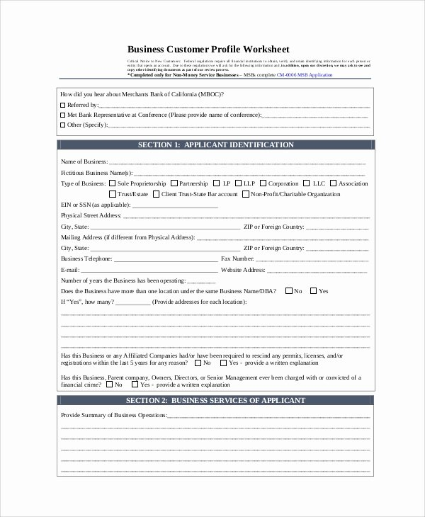 Customer Profile Template Word Lovely Sample Customer Profile 8 Examples In Pdf