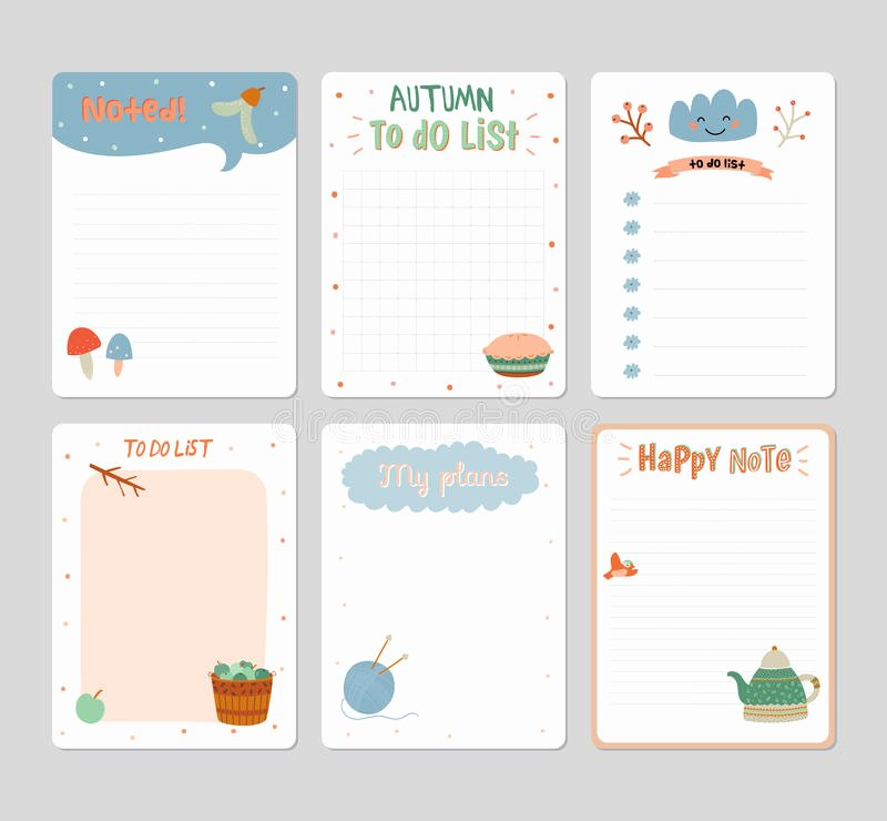 Cute to Do List Template New Cute Daily Calendar and to Do List Template Stock Vector