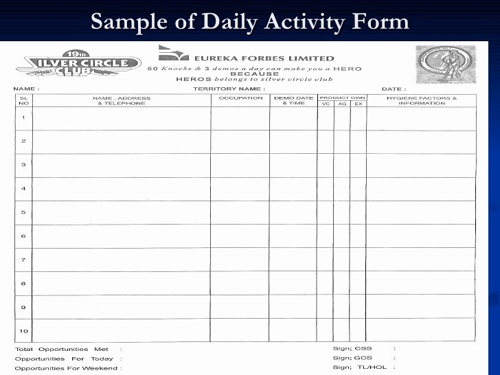 Daily Activity Report Template Beautiful Eureka forbes Ltd