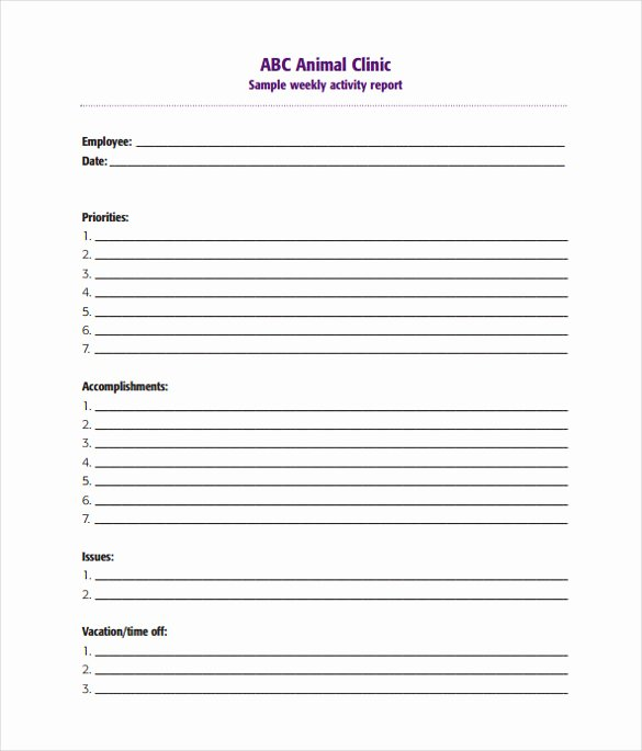 Daily Activity Report Template Fresh 20 Sample Weekly Activity Reports Pdf Word Apple