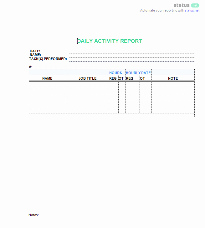 Daily Activity Report Template Lovely 3 top Downloads Of A Daily Work Log Template