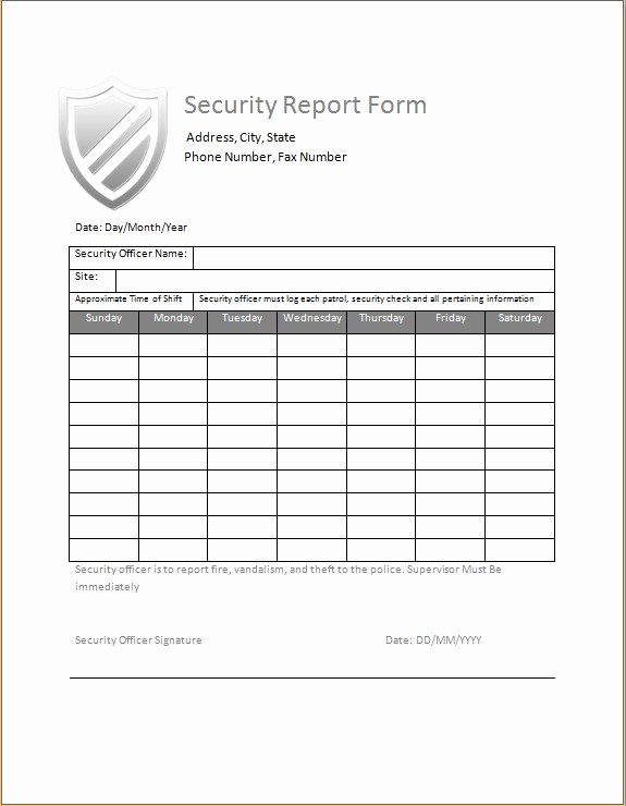 security guard daily activity report