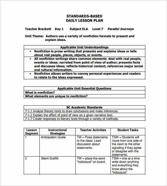 Daily Lesson Plan Template Pdf Awesome Daily Lesson Plan Template – 12 Free Sample Example