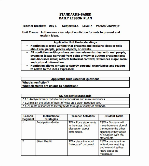 Daily Lesson Plan Template Pdf Lovely Daily Lesson Plan Template 10 Free Word Excel Pdf