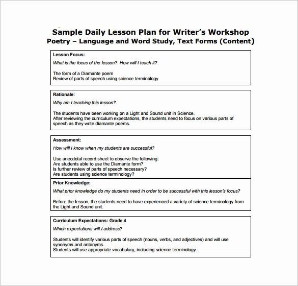 Daily Lesson Plan Template Pdf New Daily Lesson Plan Template 14 Free Pdf Word format