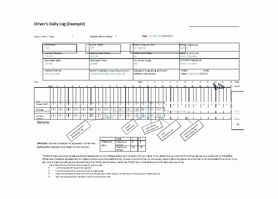 Daily Log Book Template Awesome 50 Printable Driver S Daily Log Books [templates & Examples]