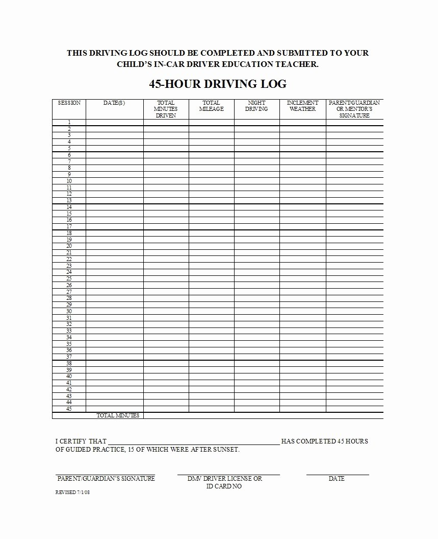 Daily Log Book Template Elegant 50 Printable Driver S Daily Log Books [templates & Examples]