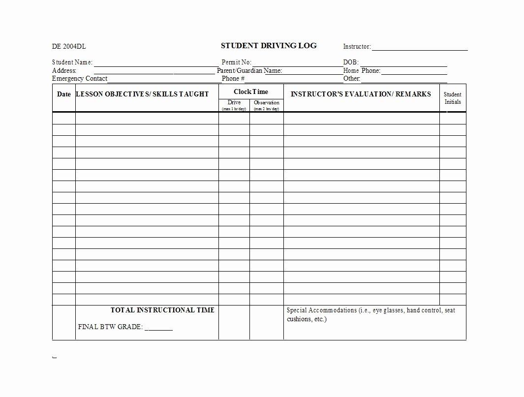 Daily Log Book Template Lovely 50 Printable Driver S Daily Log Books [templates & Examples]
