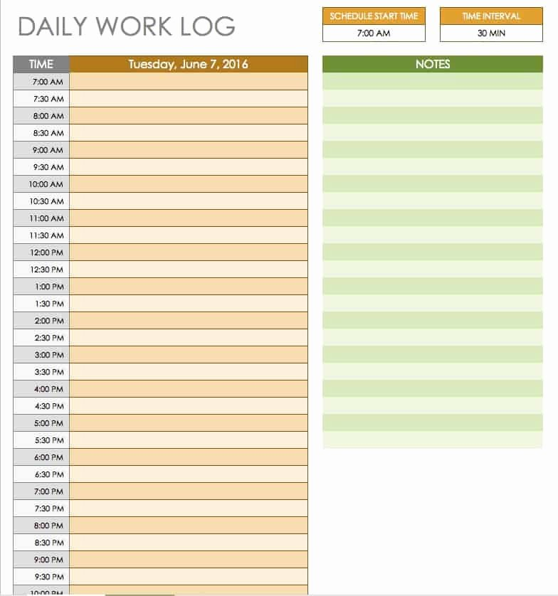 Daily Log Sheet Template Free Fresh Free Daily Schedule Templates for Excel Smartsheet