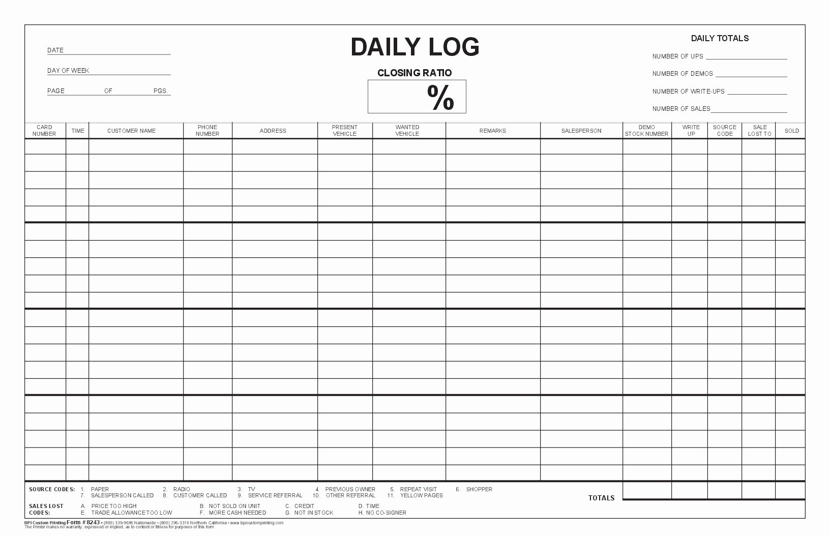 Daily Log Sheet Template Free Inspirational Closing Ratio Daily Log Bpi Dealer Supplies