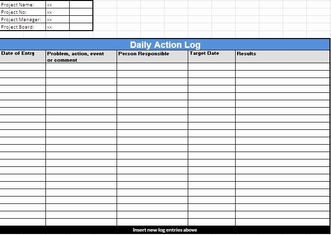 Daily Log Sheet Template Free New Action Log Template