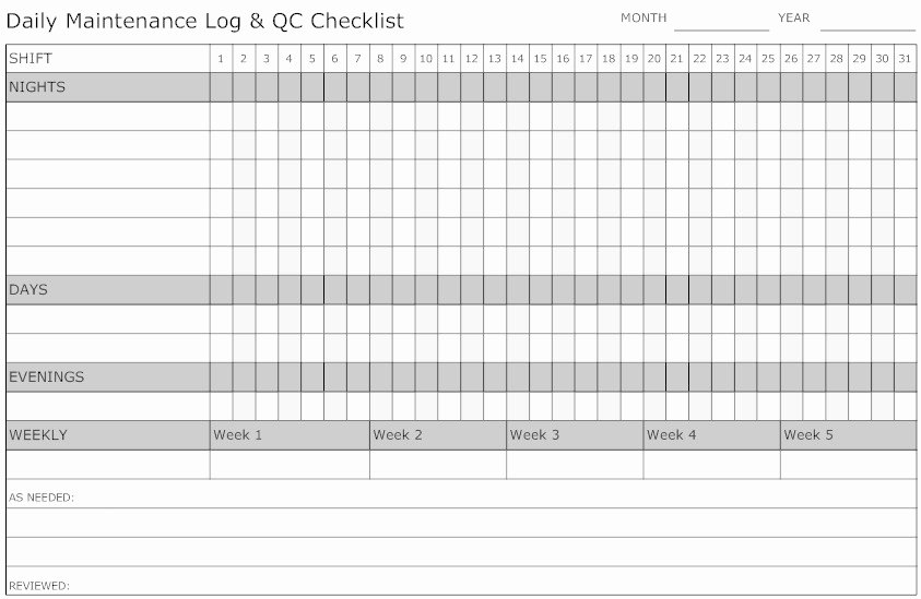 Daily Log Sheet Template Free New Daily Maintenance Log Sheet Template to Pin On