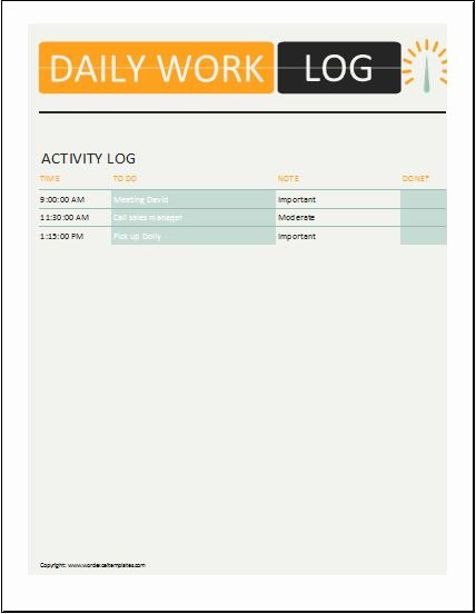 Daily Log Template Excel Elegant Daily Work Log Templates for Ms Word & Excel