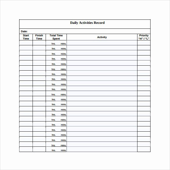Daily Log Template Excel Inspirational Sample Daily Log Template 15 Free Documents In Pdf Word
