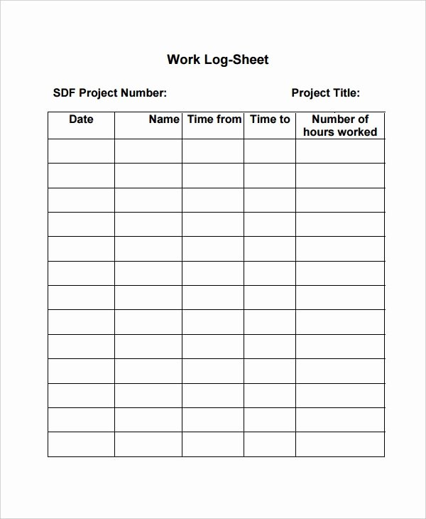 Daily Log Template Excel Inspirational Work Log Template – 7 Free Word Excel Pdf Documents