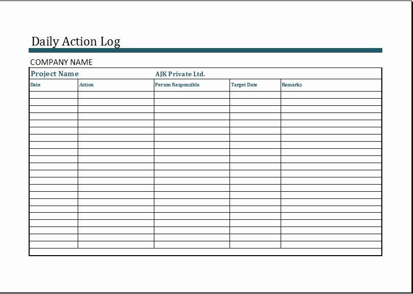 Daily Log Template Excel New Ms Excel Daily Action Log Template