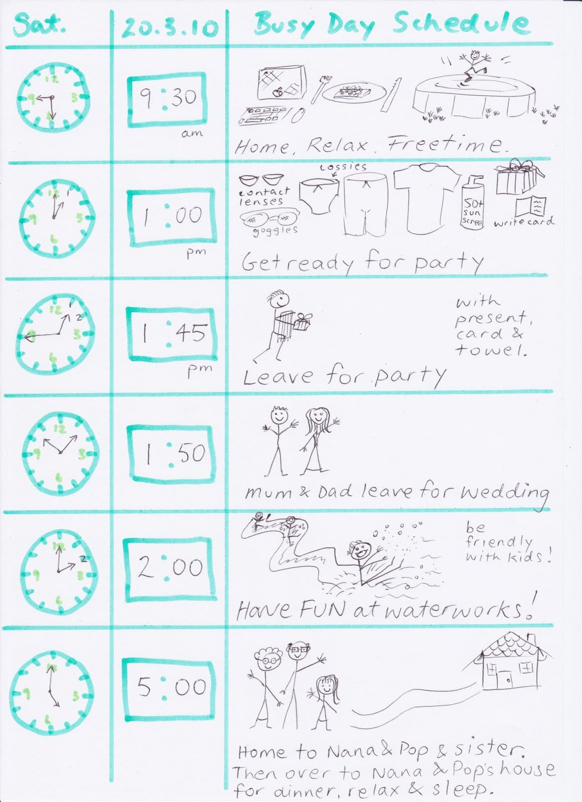 Daily Schedule Template for Kids Beautiful Mokas April 2010