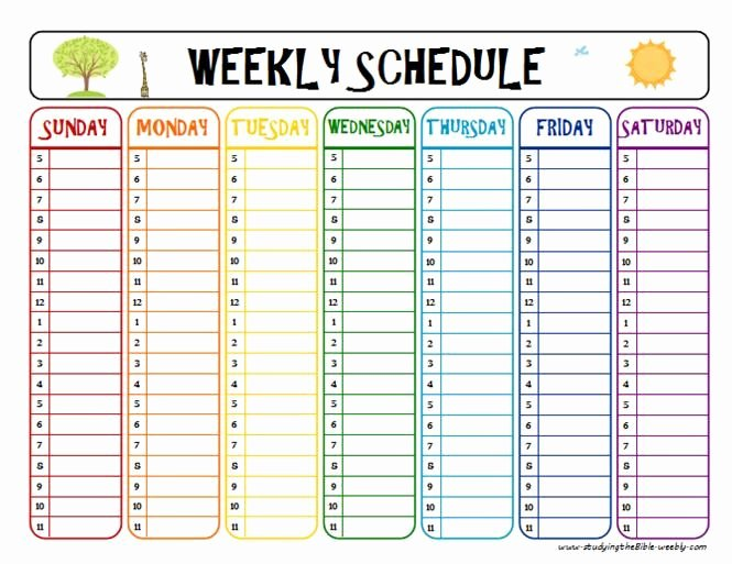 Daily Schedule Template for Kids Best Of Printable Week Schedule to Help with Homework and after