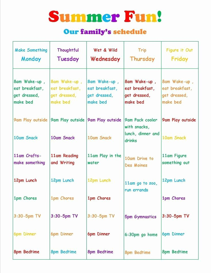 Daily Schedule Template for Kids Best Of Summer Vacation Daily Schedule