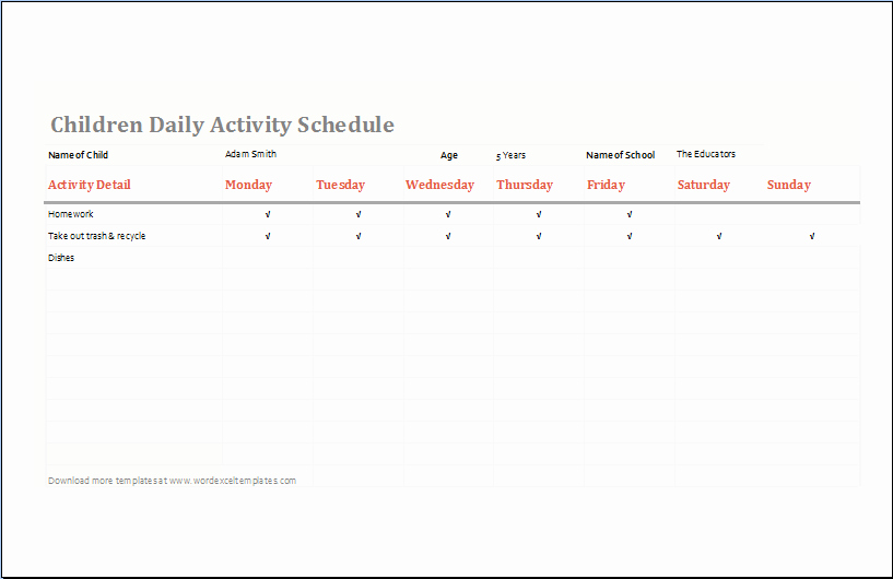 Daily Schedule Template for Kids Elegant Children Daily Activity Schedule Template Ms Excel