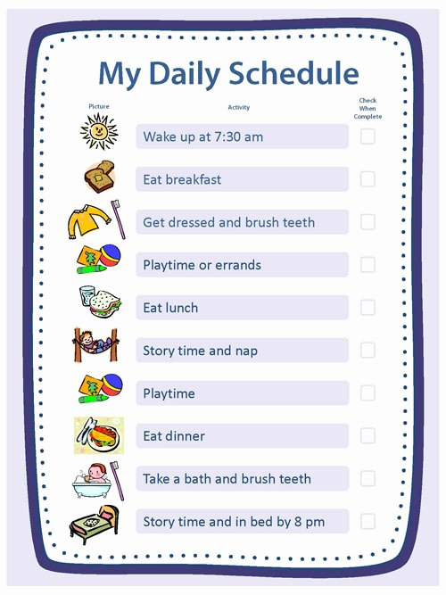 Daily Schedule Template for Kids Elegant Creating Structure Activities Essentials