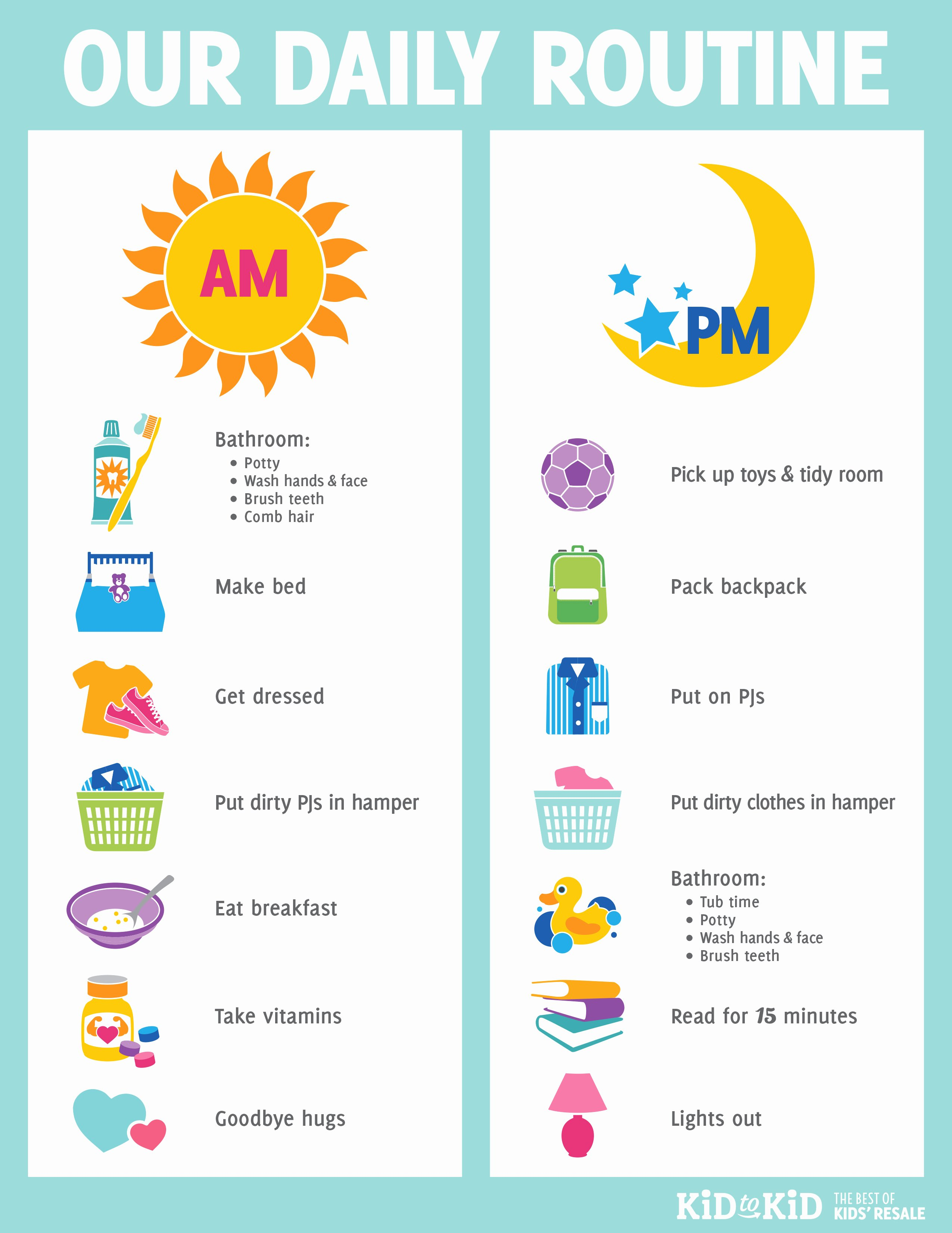 Daily Schedule Template for Kids Elegant Printable Daily Routine Chart Kid to Kid