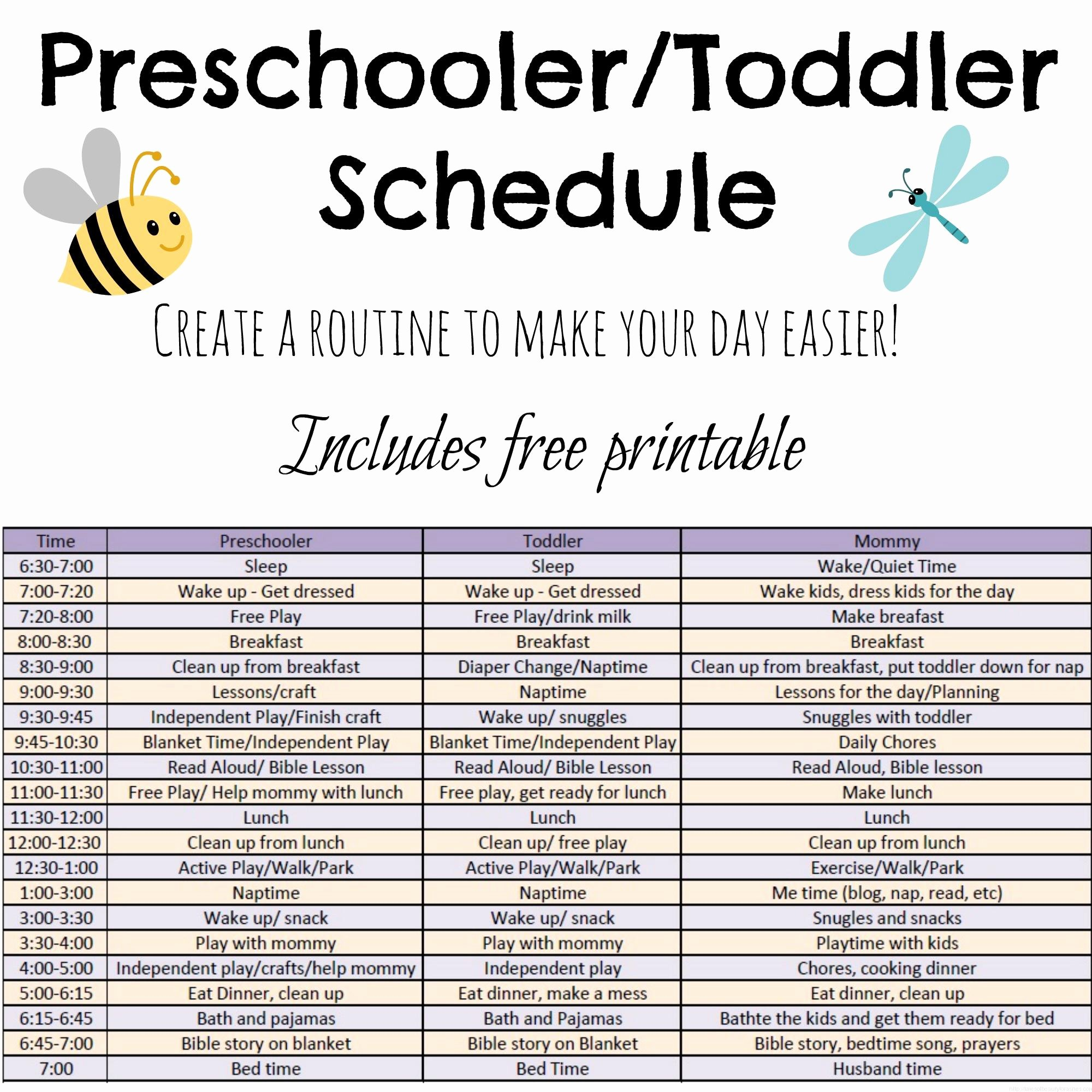 Daily Schedule Template for Kids Luxury toddler and Preschooler Daily Schedule Tales Of Beauty