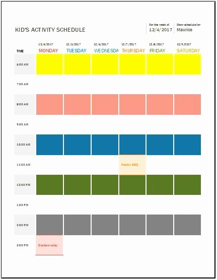 Daily Schedule Template for Kids New Kid S Daily Weekly & Monthly Activity Schedule Templates