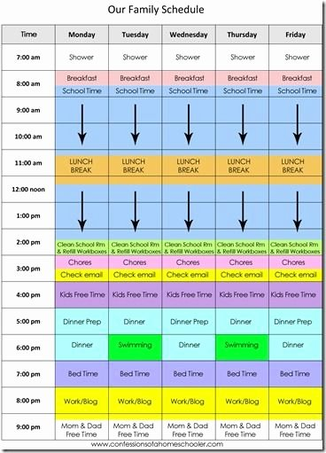 Daily Schedule Template for Kids Unique Our Daily Homeschool Schedule by Erica Over at Confessions