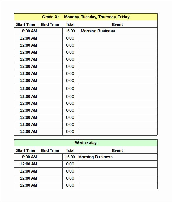 Daily Schedule Template Pdf Elegant Daily Schedule Template 39 Free Word Excel Pdf
