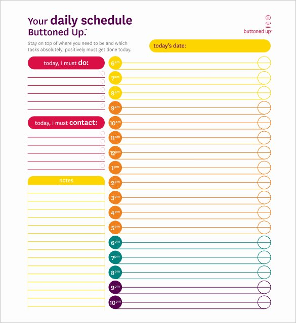 Daily Schedule Template Pdf New Daily Schedule Template 39 Free Word Excel Pdf