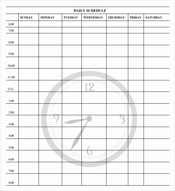 Daily Schedule Template Pdf Unique Free 11 Schedule Samples In Word Excel