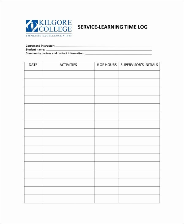 Daily Time Log Template Best Of Work Log Template – 7 Free Word Excel Pdf Documents