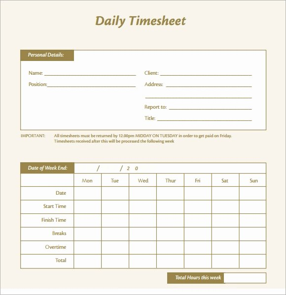 Daily Time Log Template Luxury Free 17 Sample Daily Timesheet Templates In Google Docs