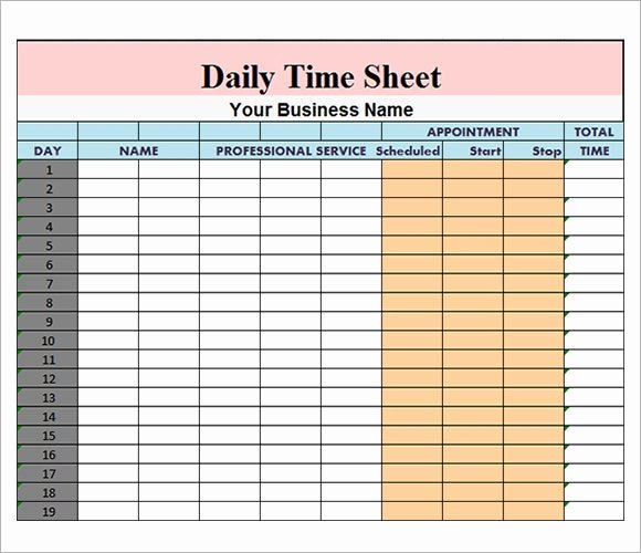 Daily Timesheet Excel Template Beautiful Free 17 Sample Daily Timesheet Templates In Google Docs