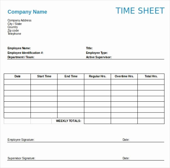 Daily Timesheet Excel Template Fresh Weekly Timesheet Template Word [printable]