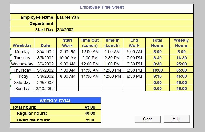 Daily Timesheet Excel Template Inspirational 60 Sample Timesheet Templates Pdf Doc Excel