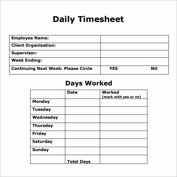 Daily Timesheet Excel Template Luxury Daily Timesheet Template 8 Free Download for Pdf Excel