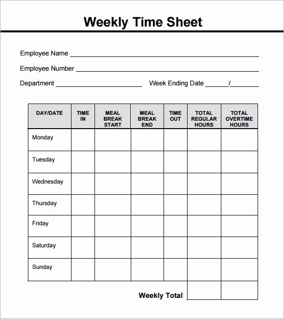 Daily Timesheet Template Free Printable Elegant Free 18 Sample Weekly Timesheet Templates In Google Docs