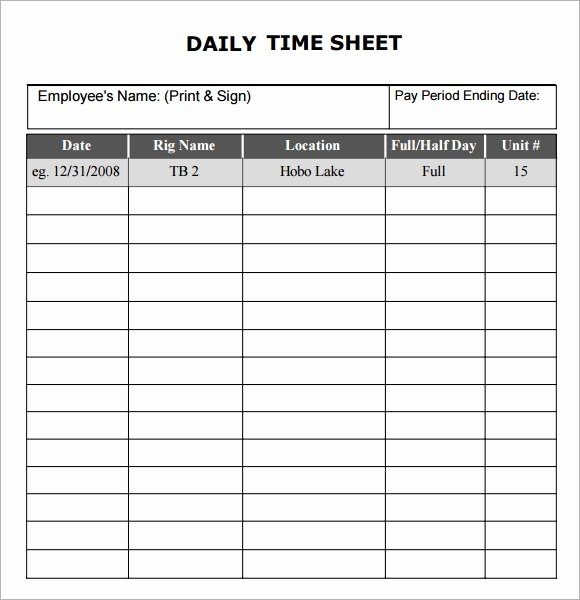 Daily Timesheet Template Free Printable Inspirational Free 17 Sample Daily Timesheet Templates In Google Docs