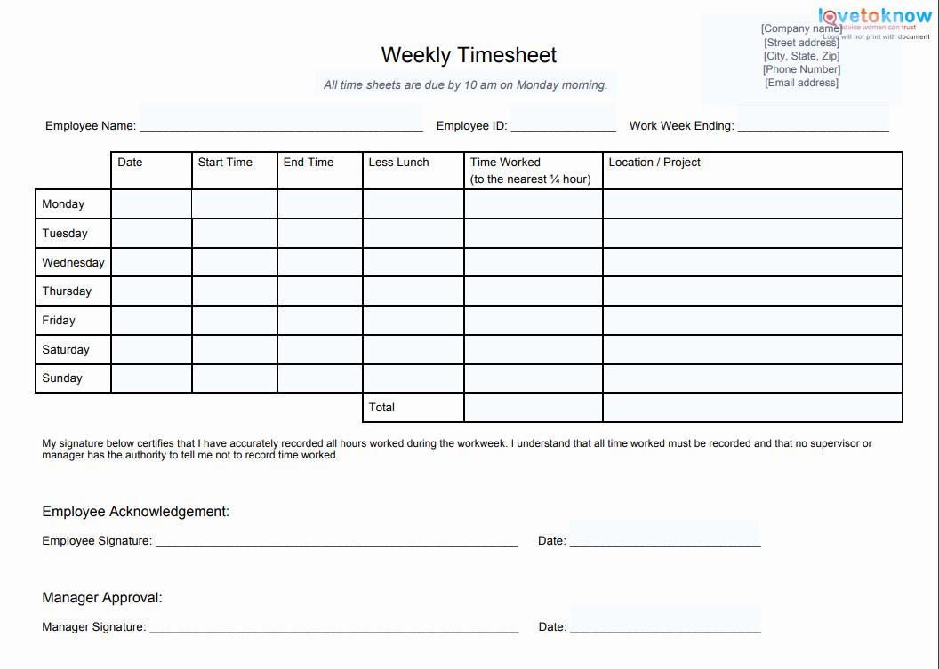 Daily Timesheet Template Free Printable Unique 10 Best Timesheet Templates to Track Work Hours