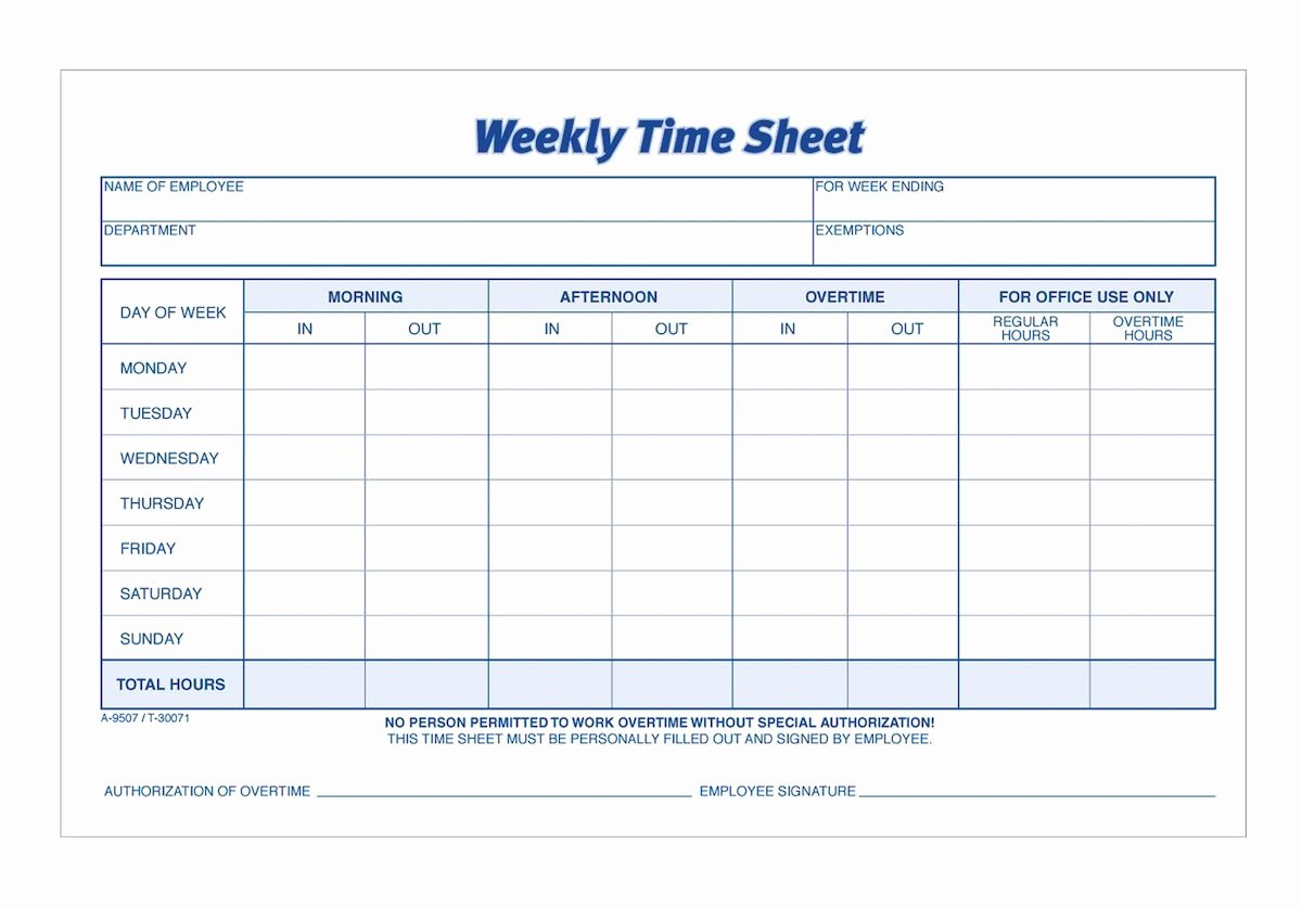 Daily Timesheet Template Free Printable Unique Adams Time Sheet Weekly 2 Part Carbonless 100 St Pk