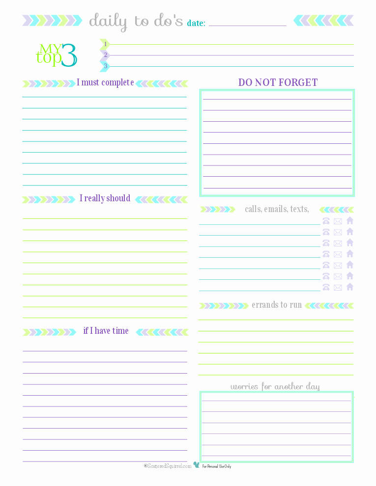 Daily to Do List Template Beautiful Day 27 to Do List Printables Scattered Squirrel
