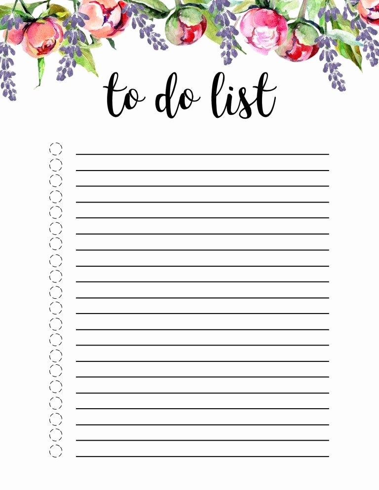 Daily to Do List Template Fresh Floral to Do List Printable Template Misc