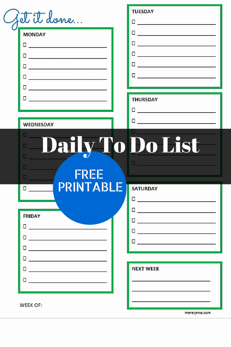 Daily to Do List Template Inspirational Get It Done Daily to Do List and Free Printable