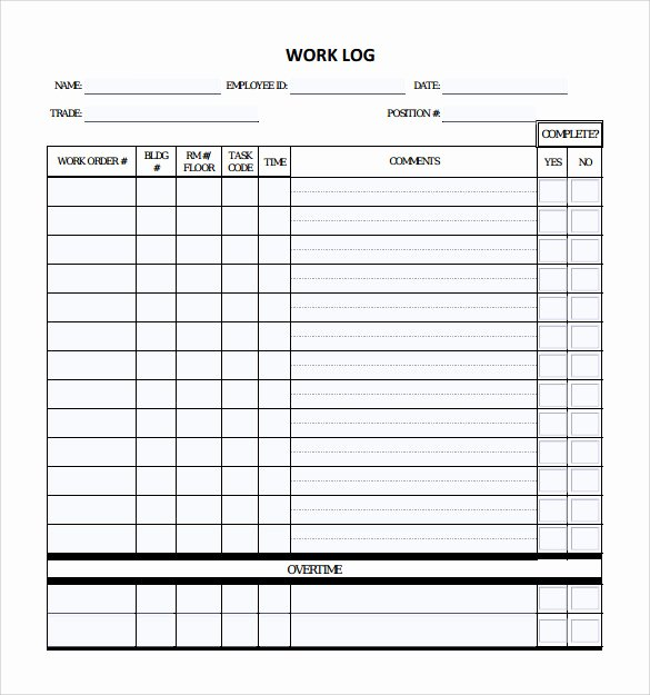 Daily Work Log Template Beautiful Free 15 Sample Daily Log Templates In Pdf