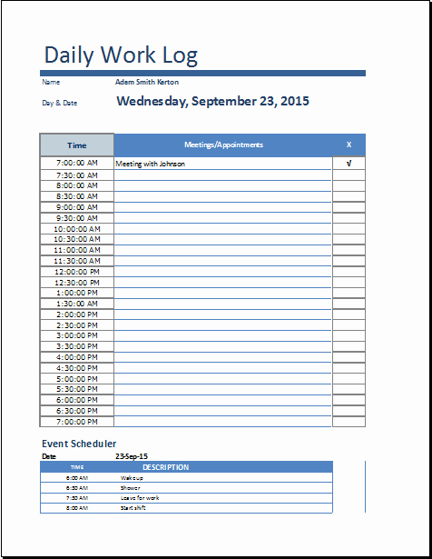 Daily Work Log Template Fresh Ms Excel Daily Work Log Template
